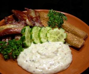 Фото рецепта «Соус со свежим огурцом и горчицей»