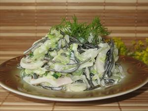 Фото рецепта «Салат с морской капустой и кальмарами»